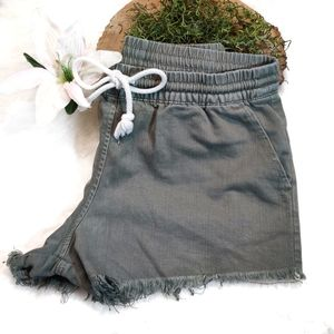 Aerie Olive Drawstring Stretched Shorties